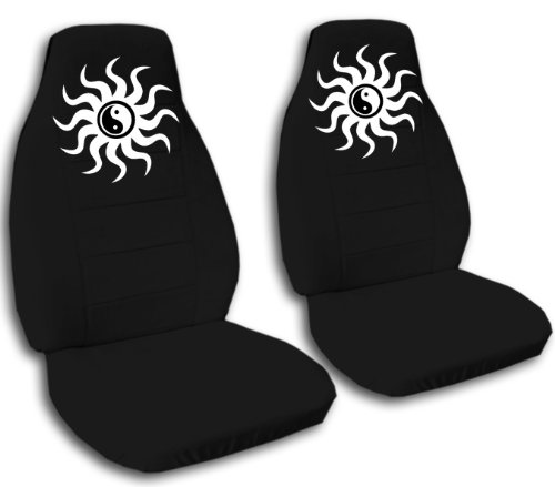 Black ying and yang seat covers, for a 2005 Toyota Camry. Side airbag friendly. (Bag Yang)
