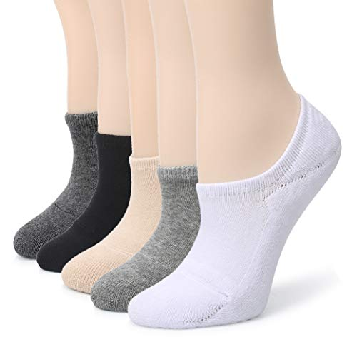 - Leotruny Women's Cushion Sweat-absorbent Breathable Soft Athletic No Show Socks (5-Pack Multicoloured)