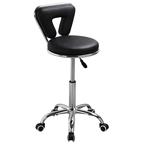 Yaheetech Adjustable Salon Nail Pedicure Stool Facial Spa Pedicure Rolling Chair Furniture & Equipment(Black)