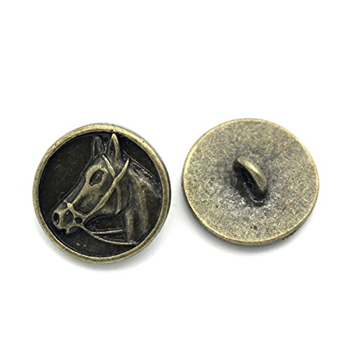 Housweety 20PCs Metal Buttons Horse Head Carved Round Bronze Tone 15mm(5/8