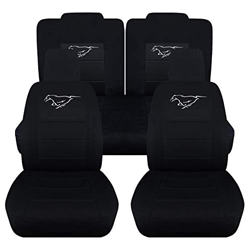 (Totally Covers Fits 2005-2010 Ford Mustang Black Seat Covers with Pony: Black with White - Full Set (22 Colors) Coupe/Convertible V6/GT Solid/Split Bench 50/50 5th Gen 2006 2007 2008 2009)