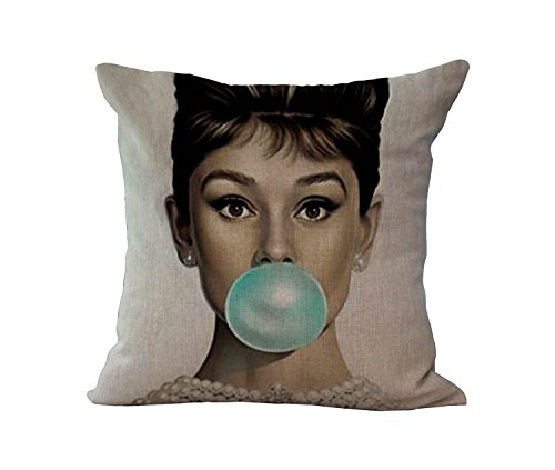 Loool 18 By 18 Inches Cotton Linen Vintage Audrey Hepburn Decorative Throw Pillow Case Cushion Cover / Pillow (Audrey Hepburn Decor)
