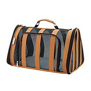 Striped Pet Carrier for Cat and Puppy, Portable Travel Bag Airline Approved, Top Loading, Sturdy Bottom, Adjustable Shoulder Strap, Cozy Cushion (Color : Orange)