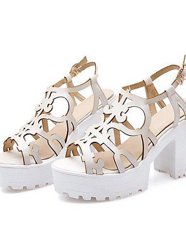 LFNLYX Zapatos de mujer-Tacón Robusto-Tacones / Punta Abierta / Comfort / Innovador / Botas a la Moda / Zapatos y Bolsos a Juego / Zapatillas- Blue