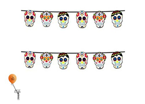 Forum Novelties Day of the Dead Sugar Skull 2 Pack 7Ft Garland 2 by Forum Novelties