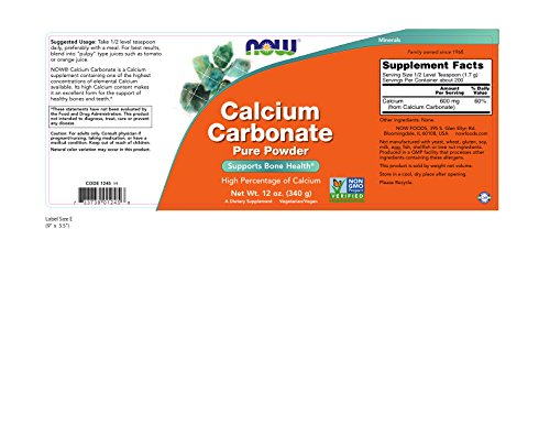 NOW Calcium Carbonate Powder, 12-Ounces