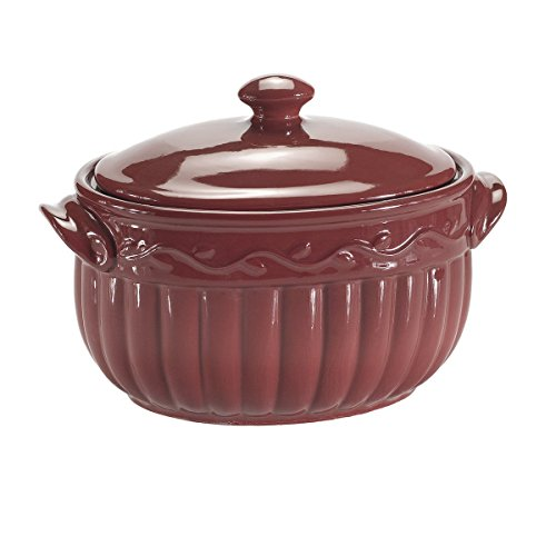 Small Bean Pot - Celebrating Home Cranberry Bean Pot (stoneware casserole dish) - oven, microwave & dishwasher safe