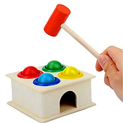 TraveT Educational Hammering Toy Hammering Wooden Ball Hammer Game Early Learning Educational Toy: Home & Kitchen