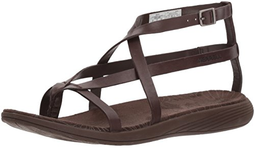 Merrell Women's Duskair Seaway Thong Leather Sandal, Bracken, 9 Medium - Womens Shoes Bracken Brown