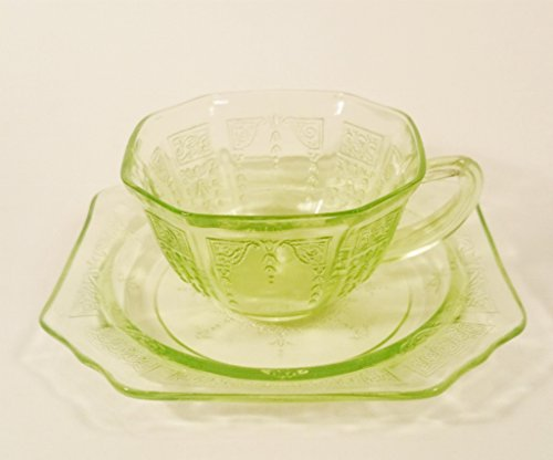 Anchor Hocking Green Princess Cup and Saucer