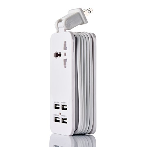 USB Power Strip Portable Travel Charger Outlets 2.1AMP 1AMP 21W 5Foot Power Supply Cord With Universal Plug Input From 100v-240v Power Sockets USB Charger Station 4 Port 5v 1A/2.1A USB Charger (White) by ETPocket (Image #1)