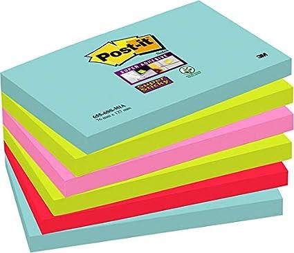 Post-it Super Sticky notas Miami 76 x 127 mm [Pack de 6]: Amazon ...