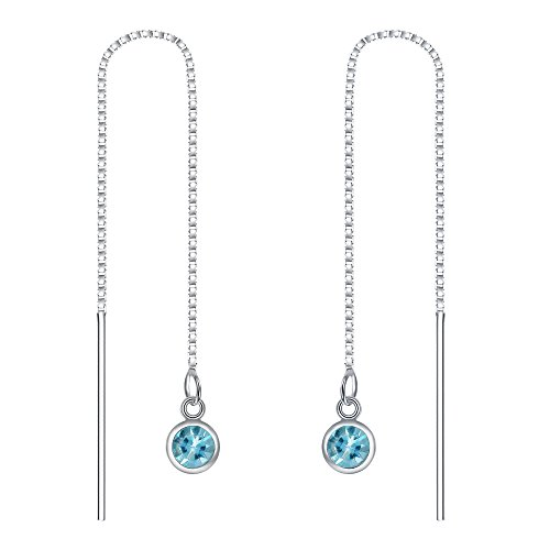 EleQueen 925 Sterling Silver Long Chain Round Threader Drop Earrings Aquamarine Color Made with Swarovski Crystals by EleQueen