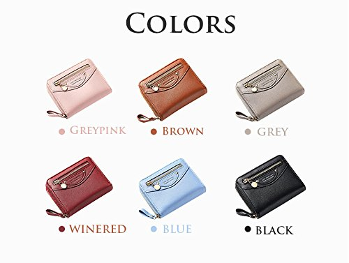 Small Compact Bifold Leather Pocket Wallet Purse for Women Clutch with ID Window Zipper Pocket Coin Card Cash Winered by Machao (Image #7)