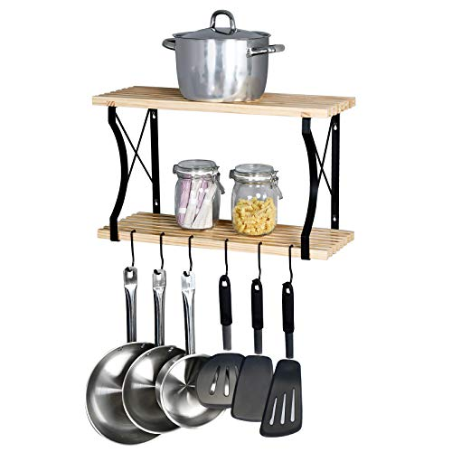 (WELLAND Taylor 2 Tier Pot Rack with 4 Hooks, Kitchen Cookware Organizer, Wall Mounted Pots and Pans Rack, 24 by 8.9-Inch)