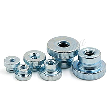 QFDM Durable Non-Loose nut 10pcs M3 M4 M5 M6 M8 M10 Blind Hole Frame Hand Tighten Flange nut Knurled Aluminum Hand Thumb nut Model Nuts Easy to use Color : Silver, Size : M3