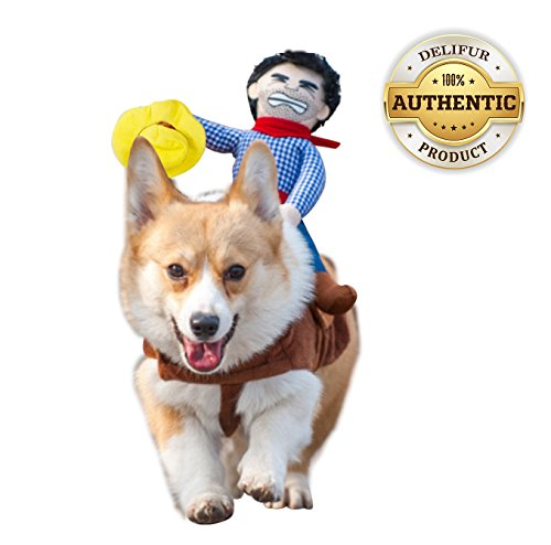 Delifur Dog Costume Pet Costume Pet Suit Cowboy Rider Style (Large) -