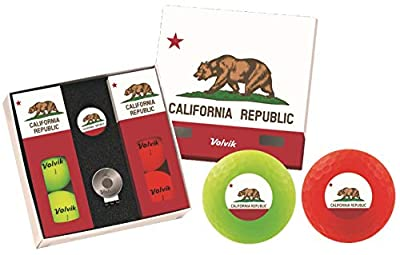 Volvik Vivid Golf Balls State Edition Gift Packs - 6 Balls Ball Marker & Magnetic Hat Clip