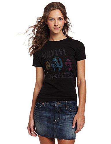 (FEA Women's Juniors Nirvana No 1 Rock Music Tissue Tee, Black, Large)