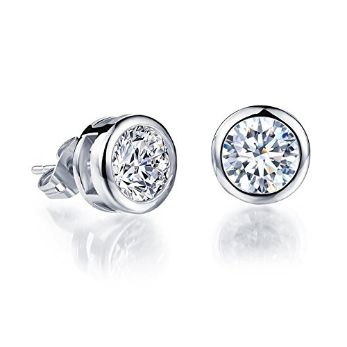 925 Sterling Silver Bezel Martini-Set 4mm Clear Cubic Zirconia Solitaire Stud Earrings ()