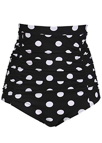 COCOPEAR Women's Ruched High Waisted Bikini Bottom Retro Vintage Swim Short Tankinis (FBA) Polka Dot Black 2XL/14-16