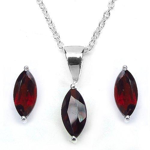 Bijoux Schmidt-Marquise-rose SET bijoux améthyste 4-pièce d'argent-2, 47 carats