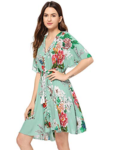Womens Multi Color Dress - Milumia Women's Boho Button Up Split Floral Print Flowy Party Dress XX-Large Multicolor-Green