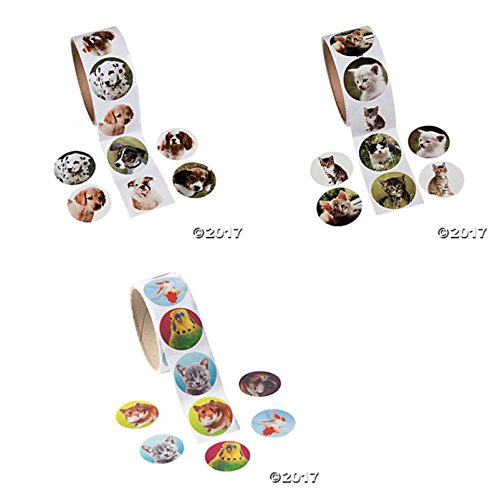 300 CAT & DOG & Assorted PET Stickers (3 ROLLS of 100 ea) KITTENS Puppies PUPPY Goldfish HAMSTER PARROT - KID'S Party FAVORS Classroom DOCTOR DENTIST