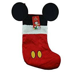 """Disney Mouse Ears 18"""" Velour Christmas Stocking with Plush Cuff"""