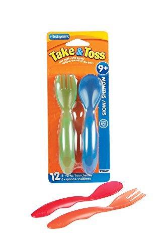 Tomar y Toss Niño Tenedor Y Cuchara cubiertos, los colores pueden variar