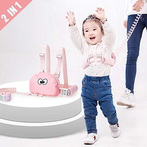 Lehoo Castle Toddler Leash for Walking, Toddler Safety Harness Backpack, Safety Harness with Storage Bag for Kids, Anti Lost Wrist Link Safety Wrist Link for Toddlers (Pink Bag)