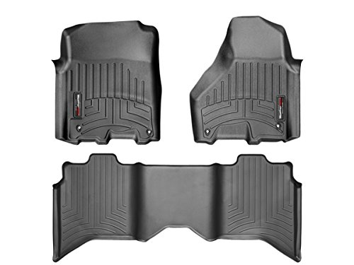 2012-2016 Dodge Ram 1500-Weathertech Floor Liners-Full Set (Includes 1st and 2nd Row)-Crew Cab; Vehicles with Hooks On Driver and Passenger Side-Black FBA_444781-442163-DodgeCrewRam