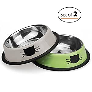Petfamily Stainless Steel Cat Bowl, Heavy Duty Painted Dog or Cat Dish with Non-Skid Rubber Bottom for Small Dogs & Cats, Pet Food & Water Bowl 8 Ounce (Set of 2) (Green / Grey)