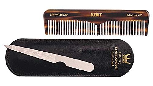 Top Leather Calf (Kent NU19 - 112mm OT Pocket Comb and 90mm Metal Nail File in Larissa Calf Leather Case)