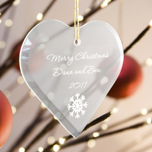 (Personalized Beveled Glass Ornament - Heart Shaped)