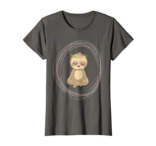 Funny Hipster Sloth Yoga Shirt Gift Women Teens Kids