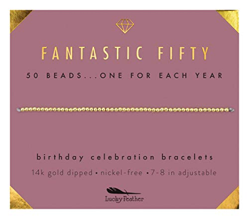 Lucky Feather 50th Birthday Gifts for Women | 14K Gold Dipped Beads Bracelet on Adjustable 7