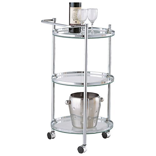Clear Tempered Glass Round Sleek Chrome Serving Cart with Wheels by OIA