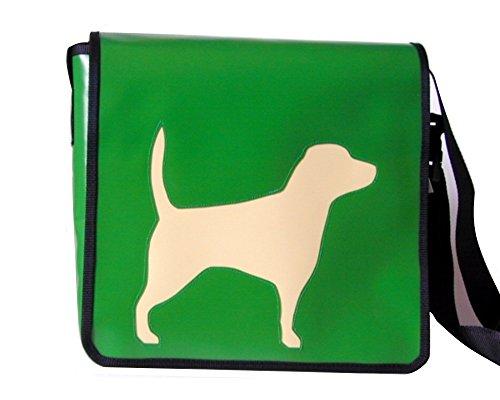 Schultertasche Hundemotiv Elfenbein Beagle 1 H 32, B 36, T 11 cm