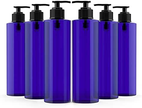 Newday Bottles, Empty Plastic Bottles with Pump Lotion Dispenser BPA-Free (8 oz, Cobalt Blue, Pack of 6)