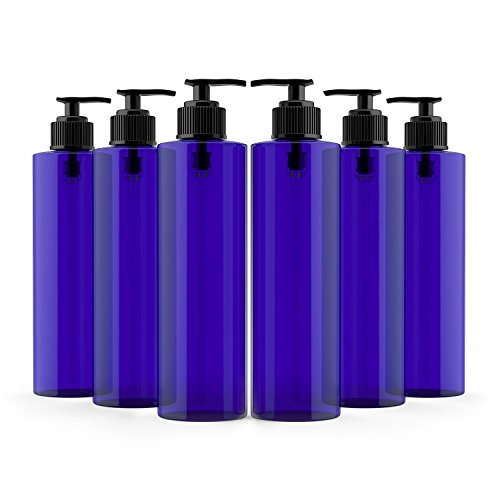 Plastic Lotion - Newday Bottles, 8 Oz Cobalt Blue Empty Plastic Bottles Cylinder PET BPA-Free with Black Lotion Pumps, Pack of 6