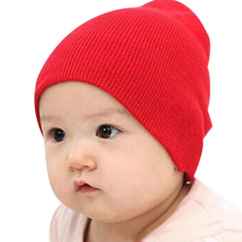 Price comparison product image UPLOTER Baby Beanie Boy Girls Soft Hat Children Winter Warm Kids Knitted Cap (Red)