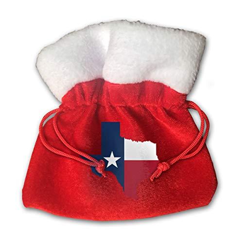 (CYINO Personalized Santa Sack,Texas Map with Flag Portable Christmas Drawstring Gift Bag (Red))