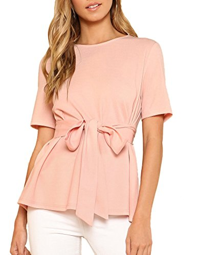 Jollymoda Women's Casual Double Round Neck Self Belted Asymmetric Top Blouse