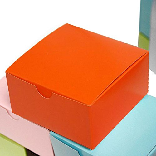 Efavormart 100pcs of 4x4x2 Orange Cake Box for Candy Treat Gift Wrap Box Party Favor Boxes for Bridal Shower Wedding Party