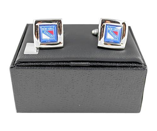NHL New York Rangers Team Logo Engraved Square Cufflinks Gift Box Set