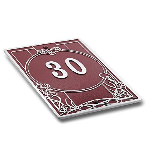 House Number Address Plaque Art Nouveau Style. Cast Metal Personalised Yard Or Mailbox Sign In Red With Oodles Of Number And Letter Options. Handmade In England By The Metal Foundry Just For You