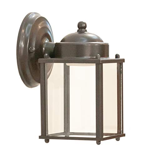 CORAMDEO Outdoor LED Square Wall Lantern for Porch, Patio, Deck, Barn and More, Wet Location, Built in LED Gives 75W of Light from 9.5W of Power, Durable Bronze Finish & Clear Glass