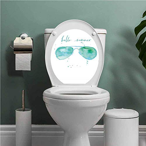 Hello Summer Decal Wall Art Decor Funny Bathroom Sticker Image of Watercolor Style Sunglasses and Motivational Phrase and Speckles Removable Toilet BathroomSticker Sky Blue Green W13XL13 ()