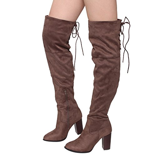 Qupid Zink-01 Frauen Lace Up Zurück Stretchy Overknee Stacked Chunky Boots Lt Brown